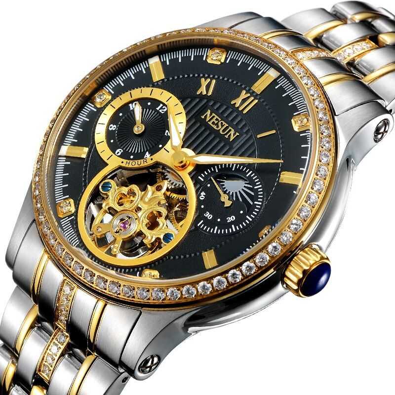 Luxury Brand Switzerland NESUN Skeleton Diamond Watch Men Automatic Self-Wind Men's Watches 100M Waterproof clock N9093-1