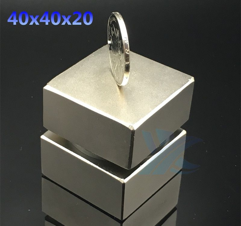 <font><b>2pcs</b></font> Neodymium magnet 40x40x20 mm gallium metal super strong magnets 40*40*20 square Neodimio magnet powerful permanent magnets
