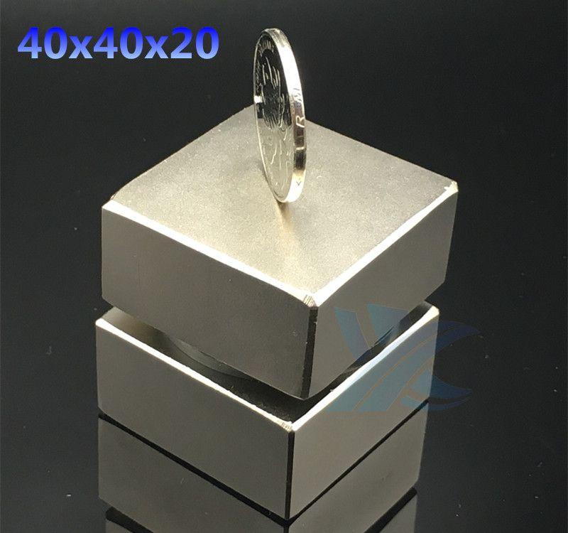2pcs Neodymium magnet 40x40x20 mm gallium metal <font><b>super</b></font> strong magnets 40*40*20 square Neodimio magnet powerful permanent magnets
