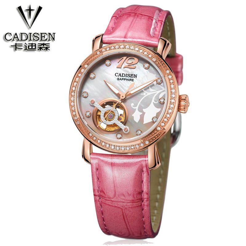 Cadisen Marca Mujer relojes de Moda Señoras Reloj De Cristal de Lujo Mujeres Rhinestone Del Diamante Del Reloj de Cuero reloj de la maquinaria automática