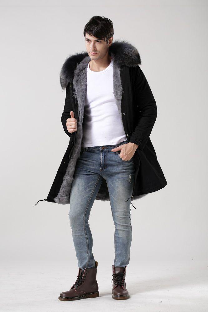 2016 long genuine natural real fur coat winter jacket men or women parkas raccoon fur collar hooded padded jacket High quality