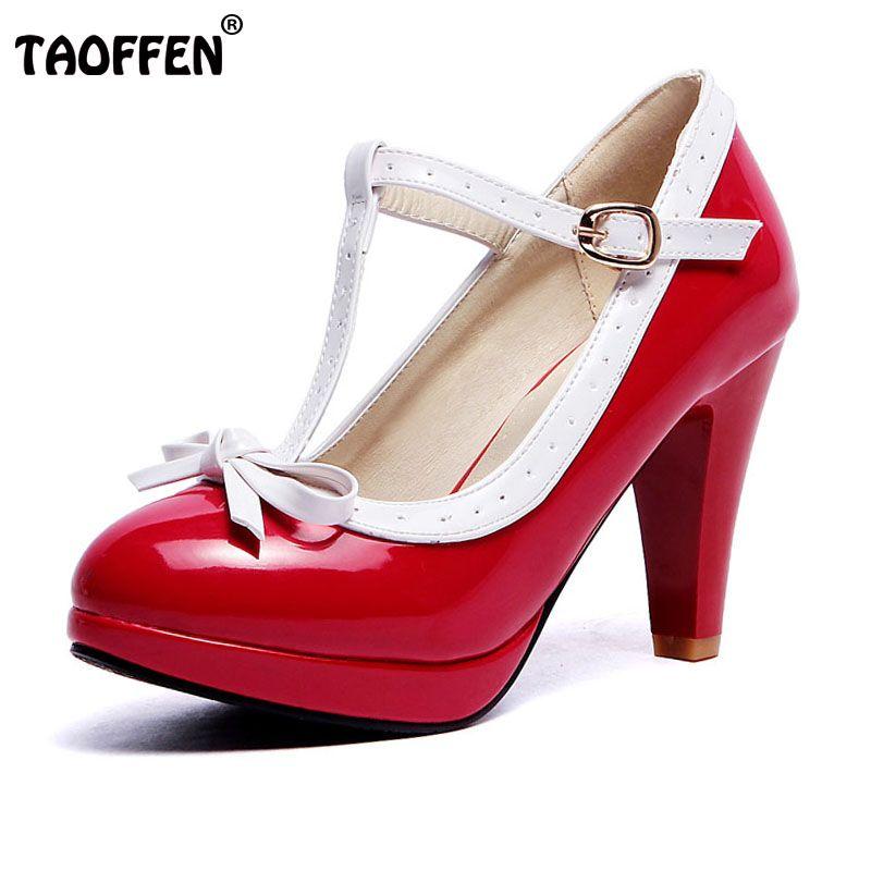 TAOFFEN Plus La Taille 32-48 Femmes D'été haute talons chaussures Femme t-strap bowknot pompes plate-forme de dame quotidienne travail robe Chaussures