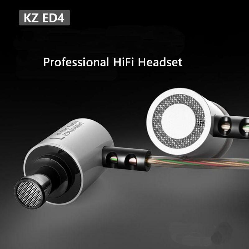 KZ ED4 Metal Auriculares Con Aislamiento de Ruido Auriculares De Música Estéreo, Auriculares de alta fidelidad con Micrófono para el Teléfono Móvil MP3 MP4