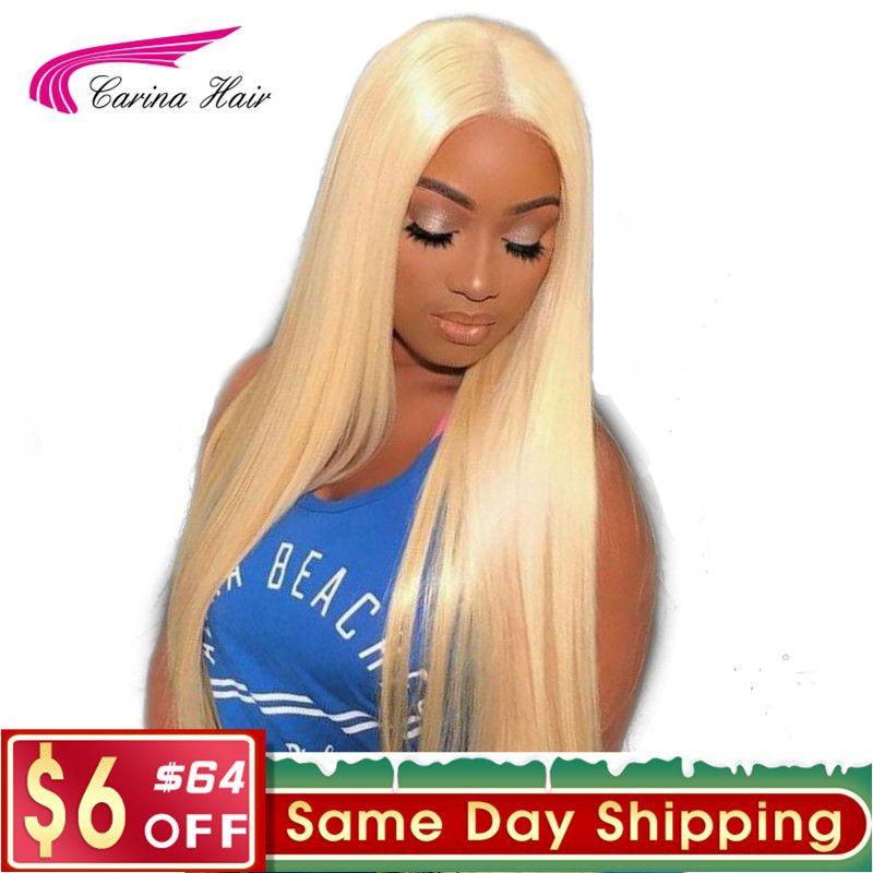 Carina Cheveux Brésiliens Remy cheveux humains 150% Densité Pur 613 Blonde Avant de Lacet Perruques Avec Bébé Cheveux Noeuds Blanchis Partie Libre