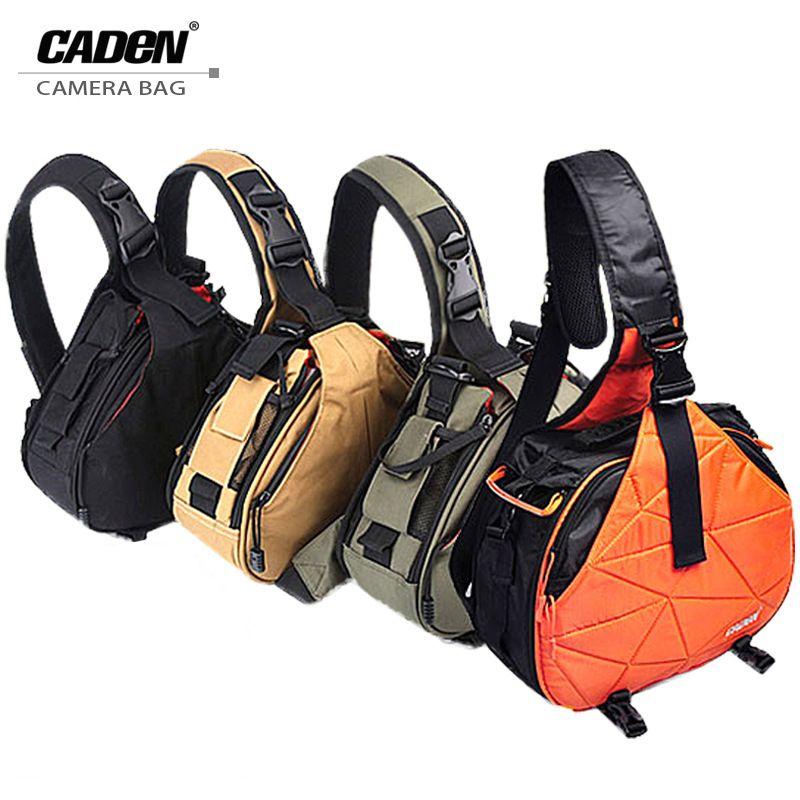 Caden Waterproof Travel Small DSLR Shoulder Camera Bag with Rain Cover <font><b>Triangle</b></font> Sling Bag for Sony Nikon Canon Digital Camera K1