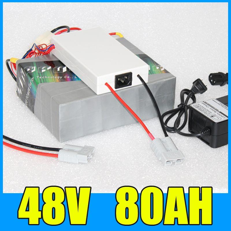 48 V 80AH Lithium-akku, 54,6 V 3000 Watt Elektro-fahrrad-roller solarenergie Batterie, Free BMS Ladegerät Verschiffen