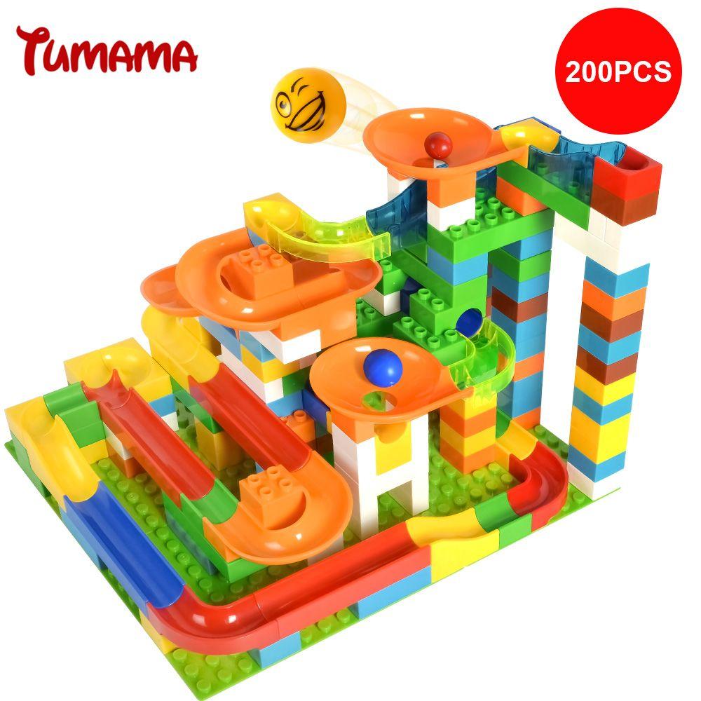 Tumama 200pcs Marble Race Run Balls Rolling Track Building Blocks Compatiable Legoe Duplo Kids Big Size DIY Construction Bricks