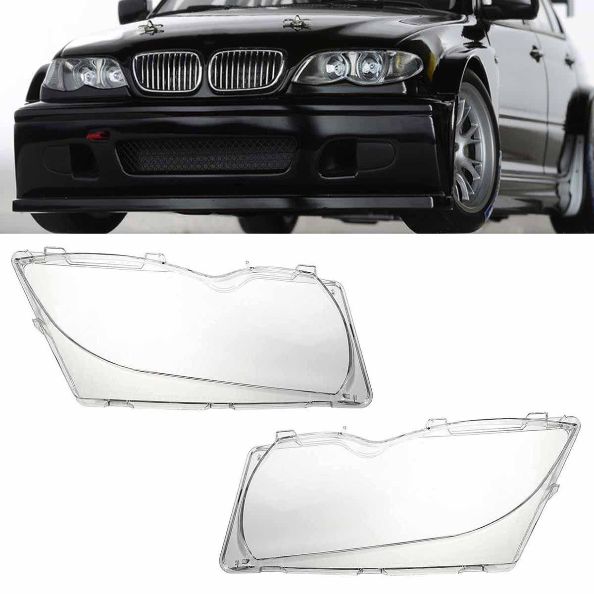 Mayitr 1 Pair Front Car Headlight Lens Plastic Shell Cover for BMW E46 3-series 4DR 320i 325i 325xi 330i 330xi 2001-2005