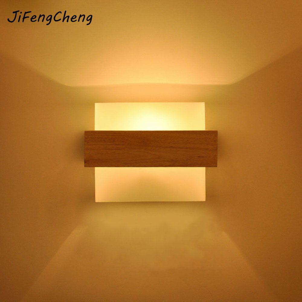 LED Solid Wood Wall Lamp E27 Bedroom Bedside Lamp Living Room Balcony Aisle Creative Simple Modern Wall Lamp Luminaria
