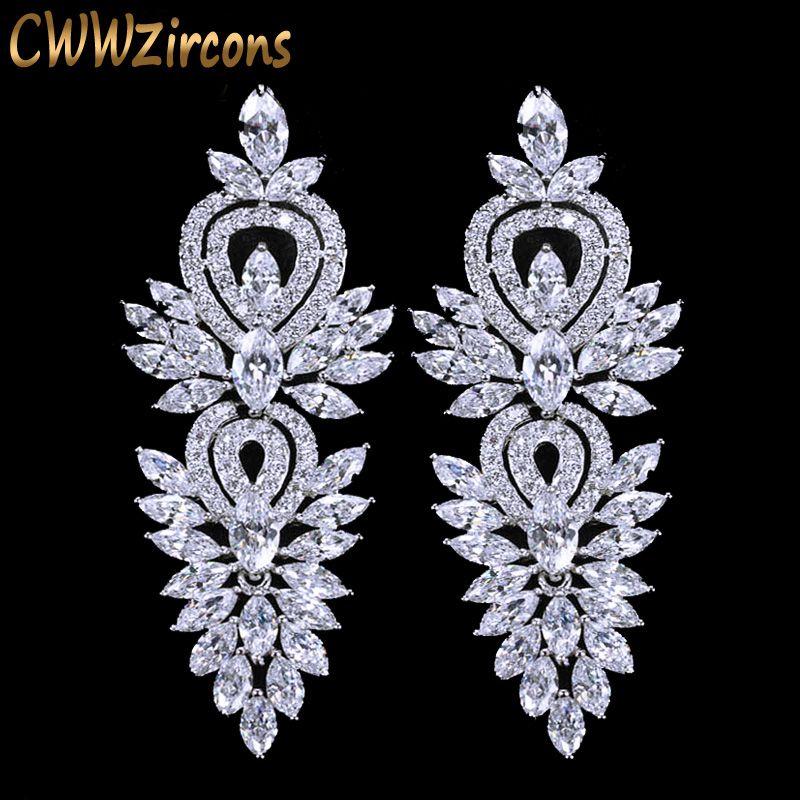 CWWZircons Vintage accessoires de bijoux de fête de mariage magnifique zircon cubique grande longue boucle d'oreille de mariée de luxe pour les femmes CZ309