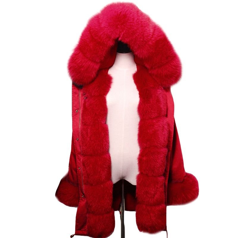 2018 New Fashion women's red coat Large natural fox fur hooded long parkas outwear thick fur lined winter jacket hot hot
