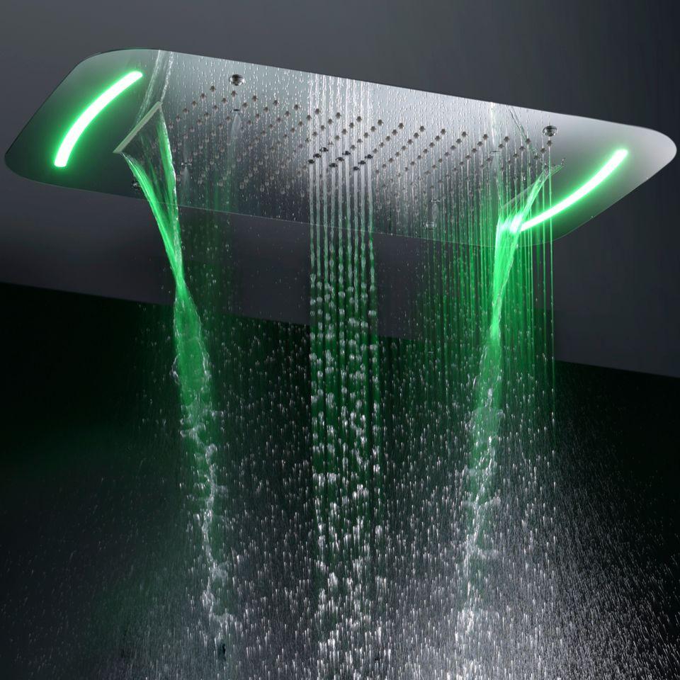 Contemporary Style Large Bathroom Shower Head Touch Panel 110V~220V Alternating Current LED Bathroom Top Shower Set
