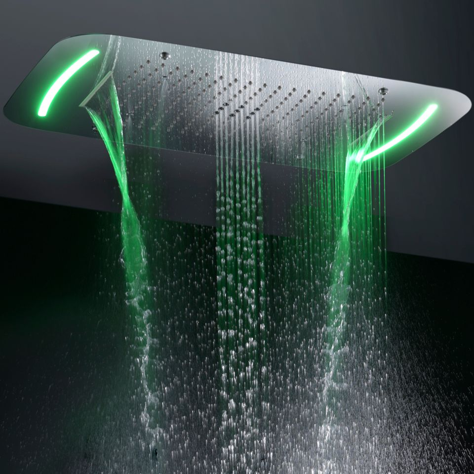Contemporary Style Large Bathroom Shower Head Touch Panel 110V~220V Alternating Current LED Bathroom Top Shower Set