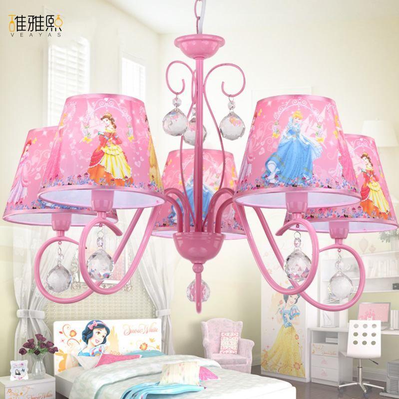 Weihnachten licht kreative mädchen rosa beleuchtung kinder lampen und eisen beleuchtung kinder lampe mädchen Kristall kronleuchter beleuchtung