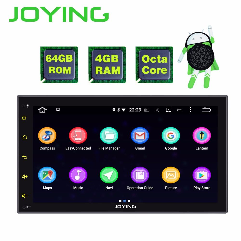 JOYING 2 DIN 8 CORE 4GB RAM Android 8.0 car autoradio 6.95 inch stereo head unit tape recorder support WiFi GPS camera carplay