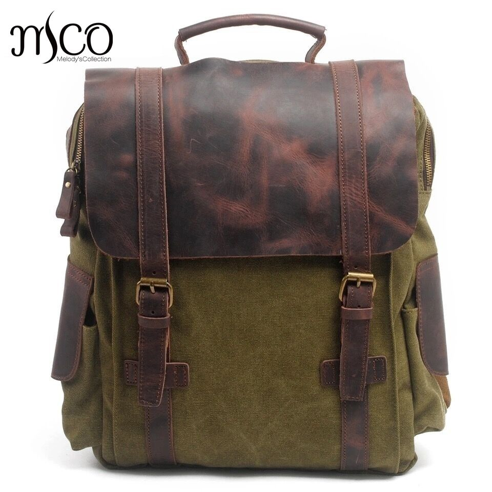 MCO Vintage Waxed Canvas Men Travel Backpack Durable Oiled Leather School Bags Classic Large Capacity Military Women Backpacks
