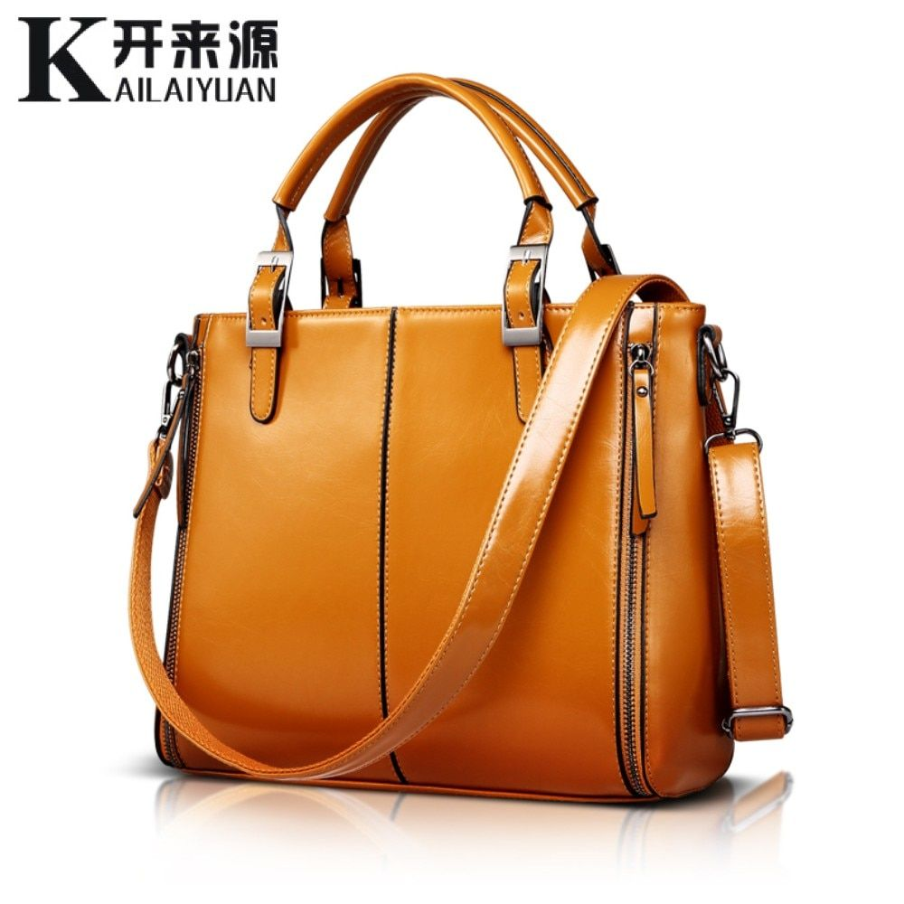 KLY 100% Genuine leather Women handbags 2018 New Fashion Handbag Brown Women Bag Vintage Messenger Bag Office Ladie Briefcase