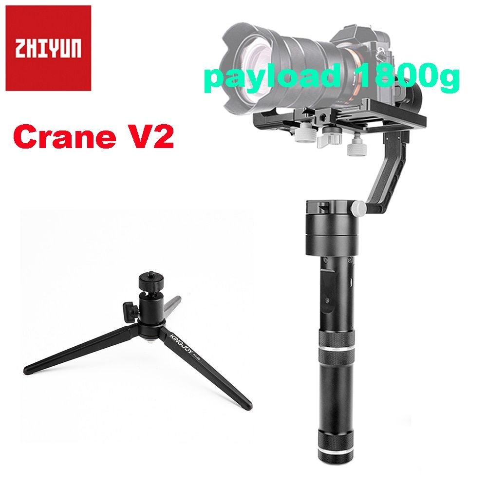 Zhiyun Crane V2 3-axis Brushless Handle Gimbal Stabilizer for Sony Mirroless DSLR Camera Payload 350g-1800g + Tabletop Tripod