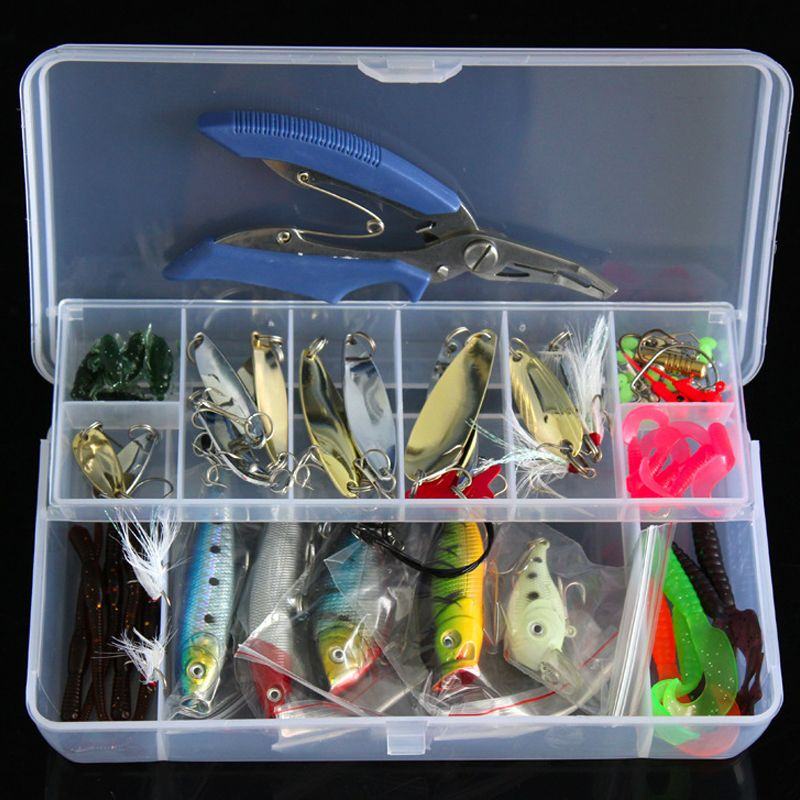 73pcs/100pcs/132pcs Fishing Lure Kit Mixed Minnow/Popper Spinner Spoon Lure With Hook Isca Artificial Bait Fish Lure Set Pesca