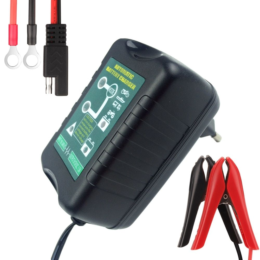 6V/12V Selectable 1.5Amp Car Scooter Motorcycle Battery Charger Maintainer 4-Stage Deep Cycle Smart Battery Warranty 2 Years