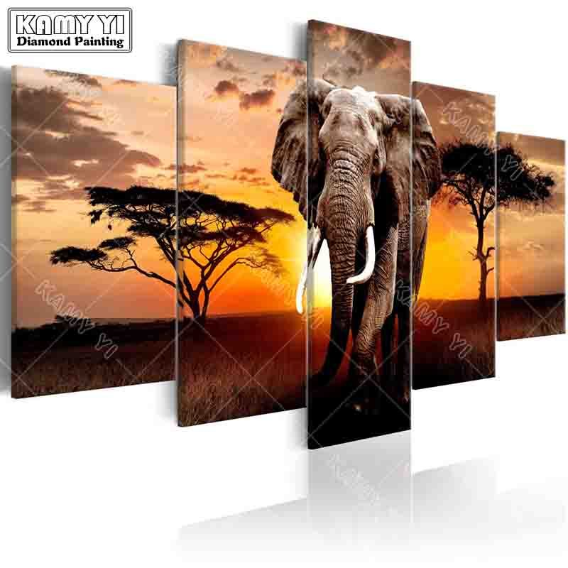 full square drill Diamond embroidery Sunset elephant 5D DIY diamond painting Cross Stitch Multi-picture home decoration