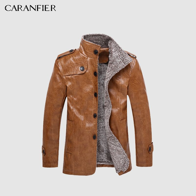 CARANFIER 8XL Men Winter Leather Jacket Motorcycle Male Thick Warm and Waterproof Coat Fleece Windproof Businessmen Style
