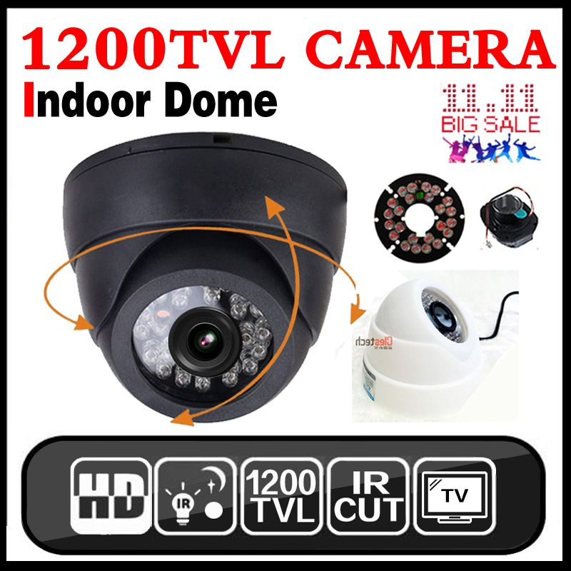 Livraison gratuite HD 1/4 cmos 800/1200TVL Intérieur Dôme Caméra 24 led IRcut de Sécurité de Surveillance Infrarouge Nuit vision 30 m Couleur Vidéo