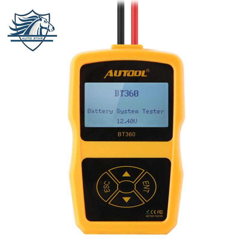 Multi-language AUTOOL BT360 12V Digital Car Battery Tester for Flooded AGM GEL BT-360 12 Volt Automotive Battery Analyzer CCA