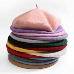 Высокое качество 100% чистая шерсть Для женщин вязать берет зимние теплые женские британский стиль леди художник капот Шапки одноцветное Цве...