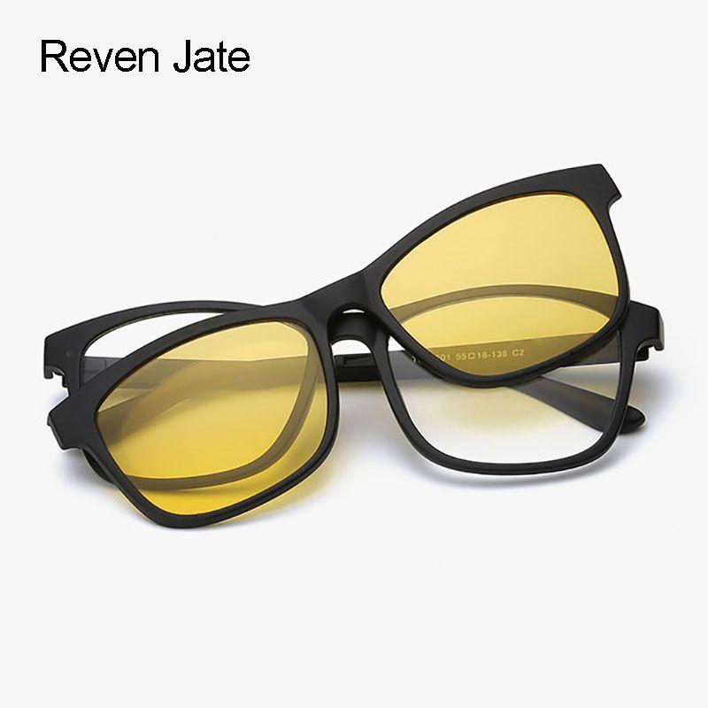 Reven Jate lunettes de soleil polarisées Vision nocturne lunettes magnétiques cadre pour hommes et femmes finition miroir revêtement pare-soleil