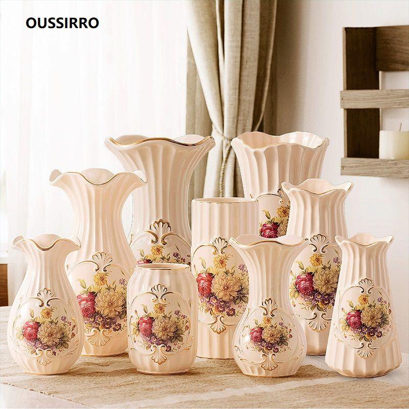 OUSSIRRO Jingdezhen Or-plaqué Vase en céramique décoration d'intérieur Creative Design Porcelaine fleur décorative Vase Pour Le Cadeau De Mariage