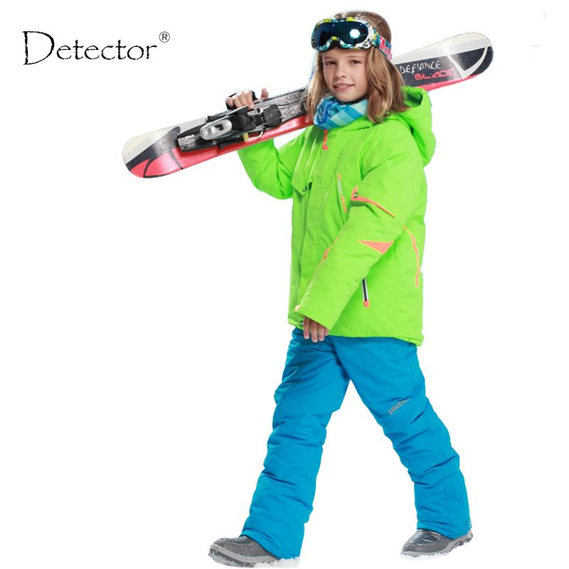 kids clothes winter ski suit windproof 5000ski jackets+pant kids' winter snow <font><b>girls</b></font> clothes boys clothes outdoor -20-30 degree