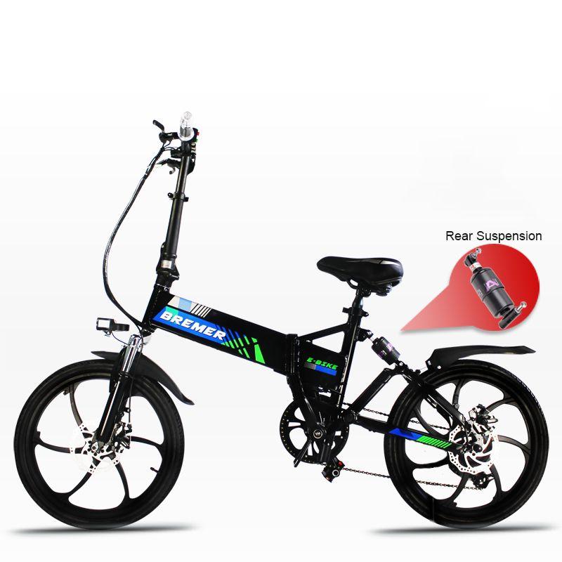 20 zoll elektrische fahrrad 48V500W falten rahmen versteckte lithium-batterie ebike Vorne und hinten doppel suspension unterstützen fahrrad