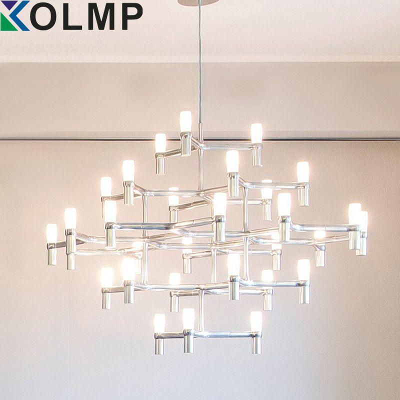 NEMO Crown Nordic Postmodernen Beleuchtung Schwarz/weiß/Chrom/Gold 30 Köpfe 5 Schichten Aluminium Kerze Pendelleuchte