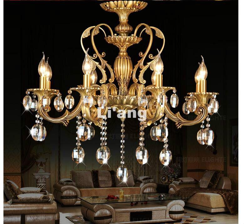 Modern D62cm H65cm Bronze Color 6L D65cm K9 Crystal Chandelier Lighting Luxurious Brass Crystal Lamp Lustre AC Chandelier Lights