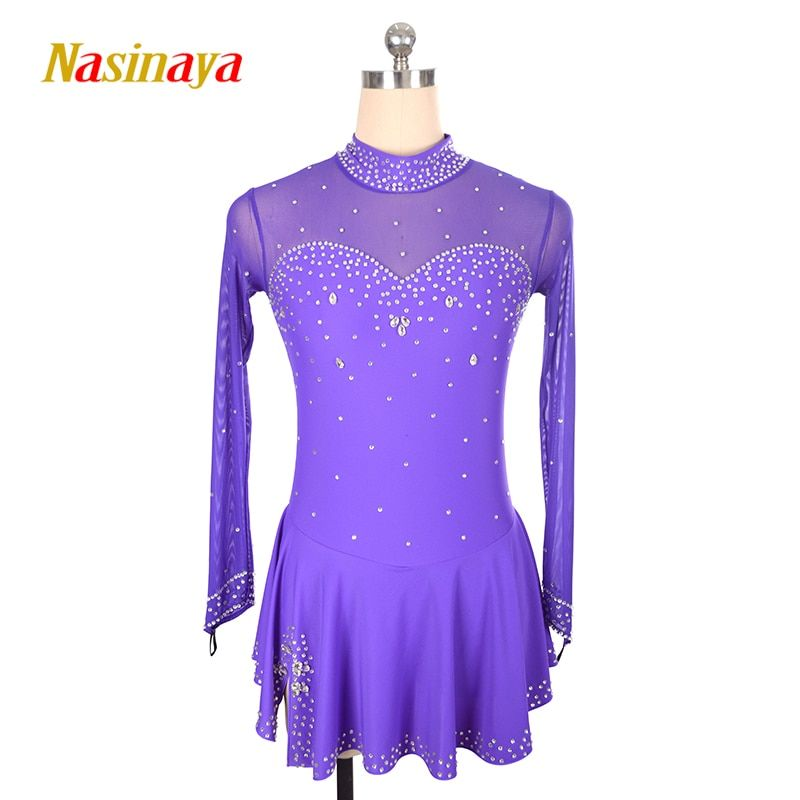 Customized Costume Ice Skating Figure Skating Dress Gymnastics Adult Child Girl Skirt Competition Rhinestone Button