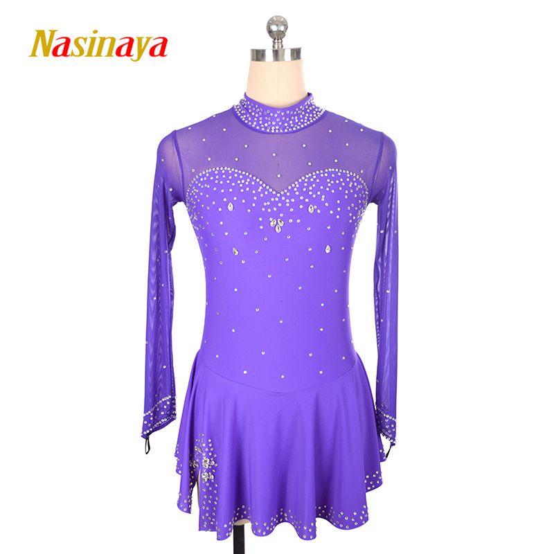 Kundenspezifische Kostüm Eislaufen Eiskunstlauf Kleid Gymnastik Erwachsenes Kind Mädchen Rock Wettbewerb Strass-Taste
