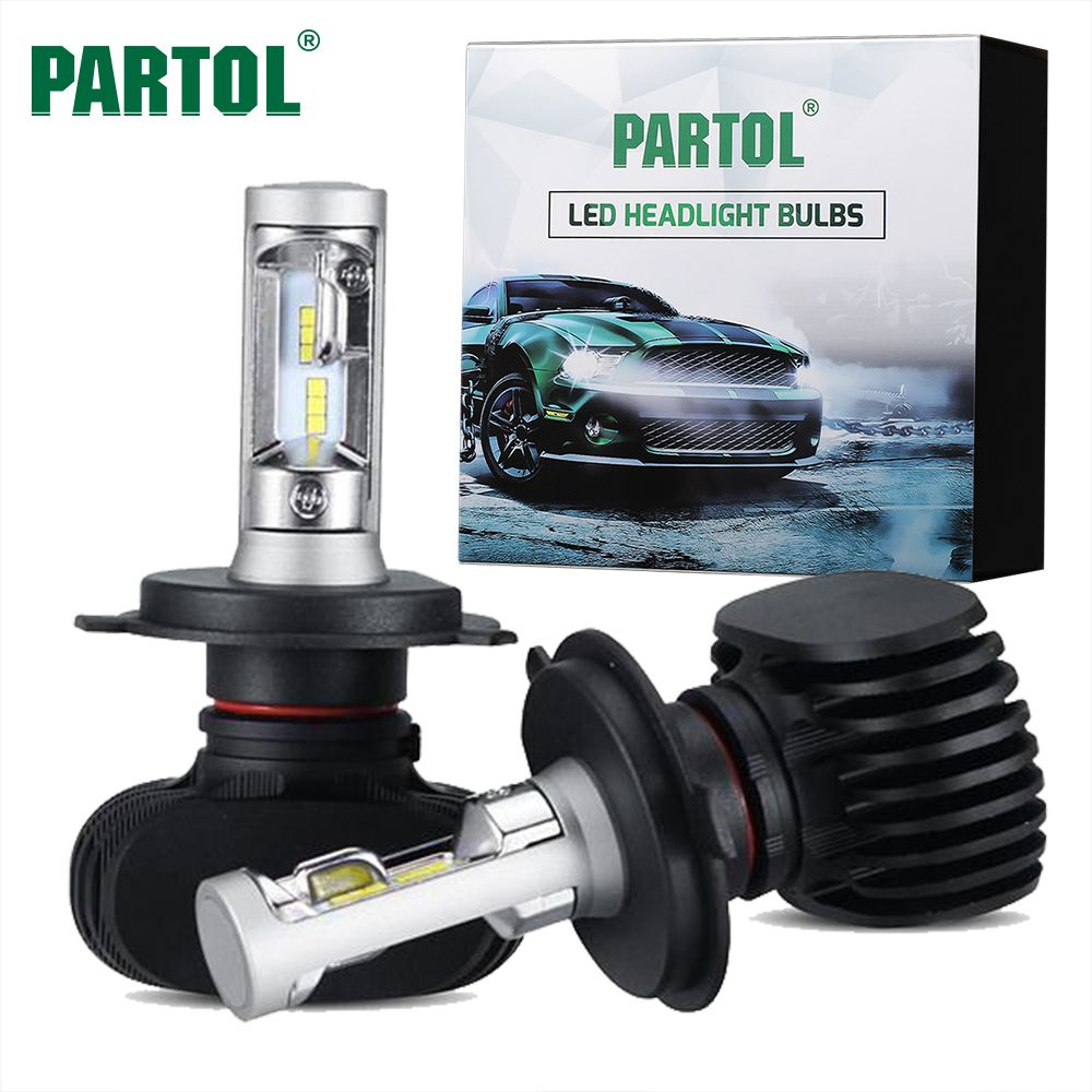 Partol 50W 8000LM H4 H13 H7 H11 9005 9006 Car LED Headlight Bulbs CSP Chips LED Headlights Automobile Headlamp Front Light <font><b>6500K</b></font>