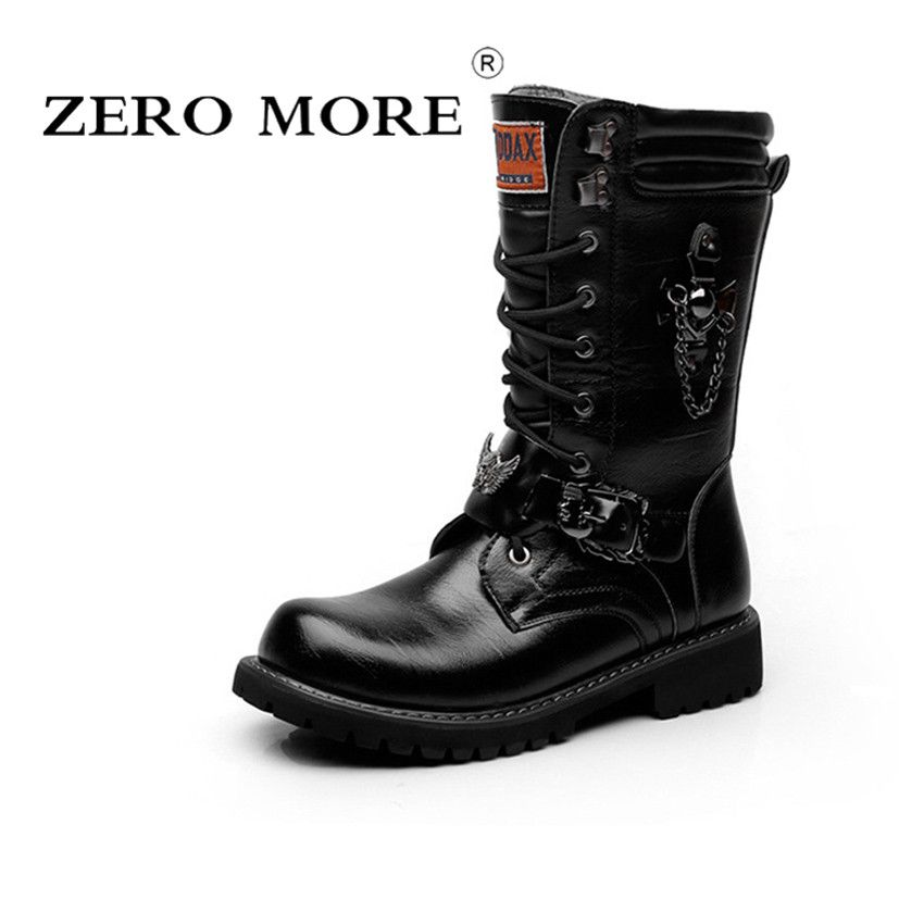 <font><b>ZERO</b></font> MORE Brand Army Boots Men Chain Military Mens Boots Skull Metal Buckle Lace Up Male Motorcycle Punk Boots Men's Shoes Rock