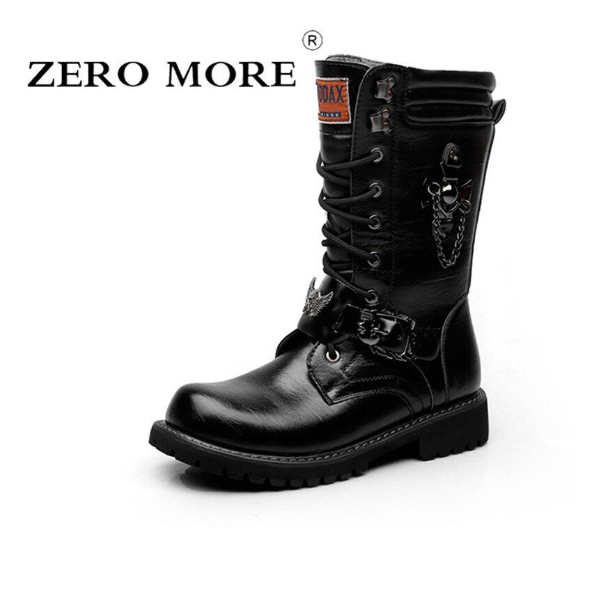ZERO MORE Brand Army Boots Men Chain Military Mens Boots Skull Metal Buckle Lace Up Male Motorcycle Punk Boots Men's Shoes Rock