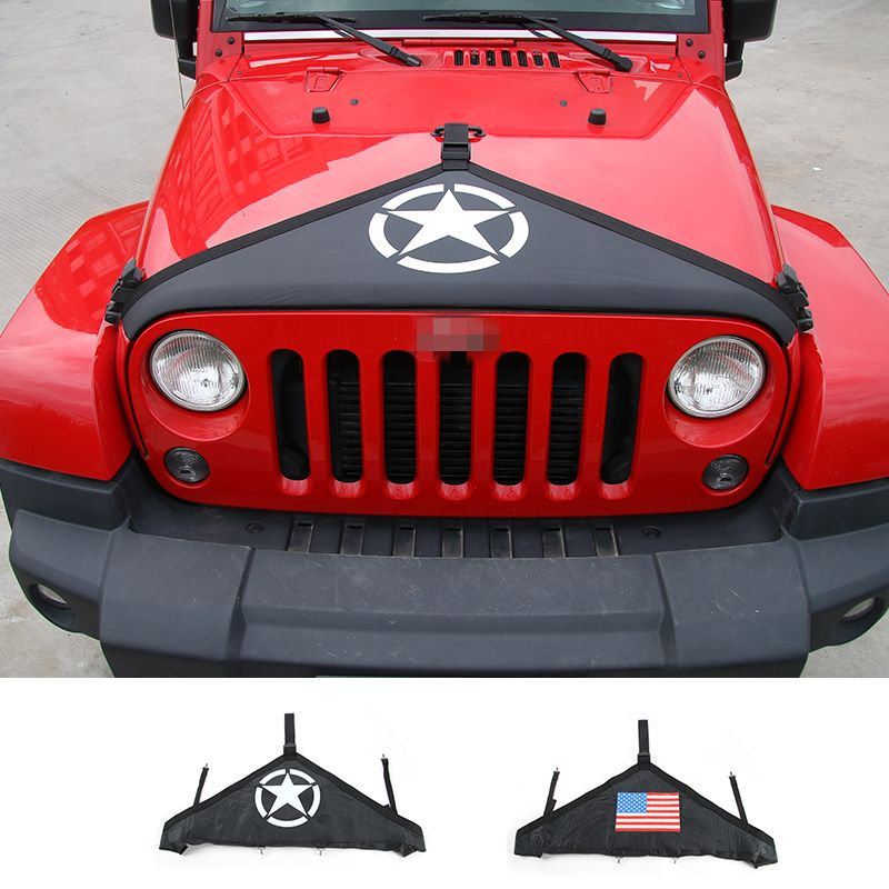 MOPAI Canvas Newest Hood Cover Front End Bra Protector With Logo Fit For Jeep Wrangler 2007 up Car Engine Cover Car Styling