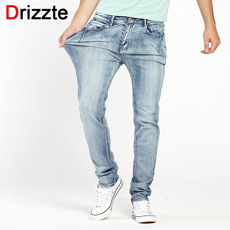 Drizzte Brand Mens Jeans Trendy Stretch Blue Grey Denim Men Slim Fit Jeans Trousers Pants Size 30 32 34 35 36 38 40 42 44 Jean