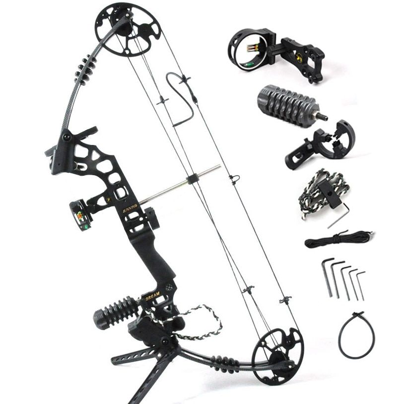 Black Dream Aluminum Alloy hunting Compound Bow With 20-70 lbs adjustable Draw Weight