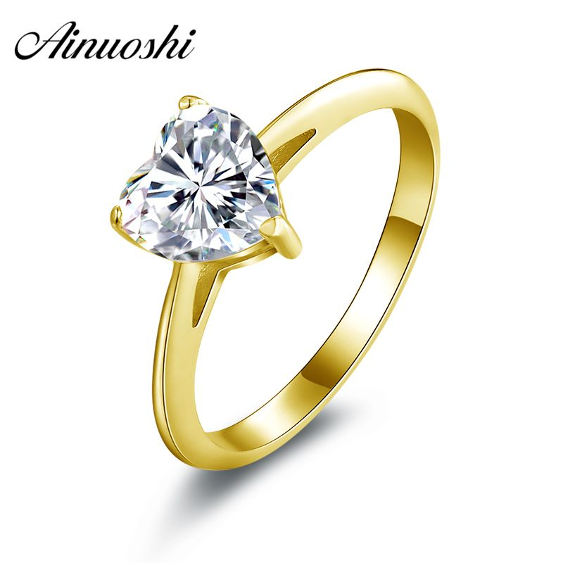 AINUOSHI 10k Solid Yellow Gold Wedding Rings Heart Cut Solitaire Bague Lovers Valentines Simulated 1.2 Carat Women Wedding Ring