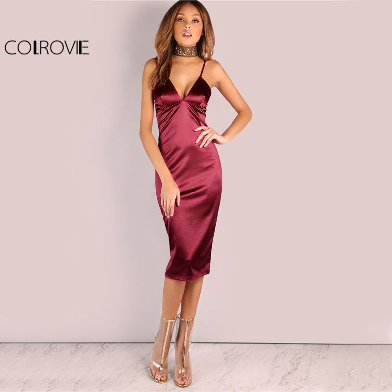 COLROVIE Burgundy Satin <font><b>Party</b></font> Club Dress 2017 Deep V Neck Women Summer Dresses Sexy Bodycon Strap Ruched Ladies Midi Slip Dress