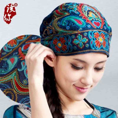 Mexican Style Spring And Autumn Ethnic Vintage Embroidery Flowers Bandanas Original Red Blue Print Hat Cat Free Shipping