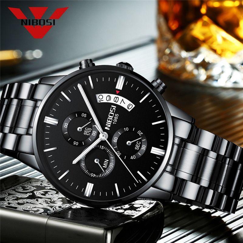 NIBOSI montre à Quartz de luxe hommes chronographe montres d'affaires pour livraison directe en gros doré complet en acier homme montre-bracelet