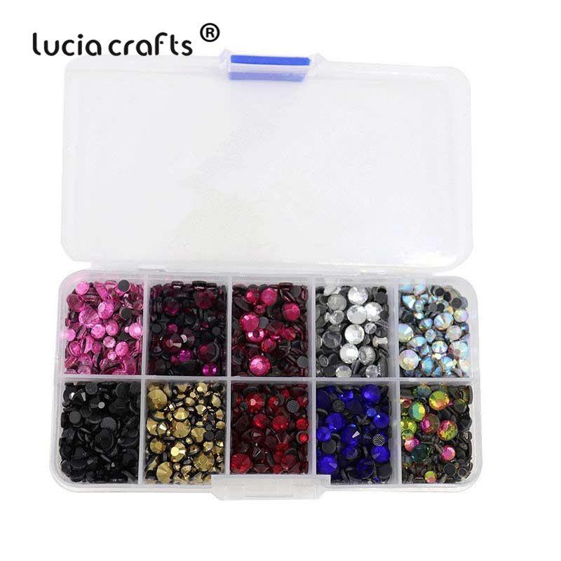 Mixed 10 Colors Mixed Sizes Glass Rhinstones Flatback Hot Fix Stones DIY Material 5000pcs/box,500pcs/color 063005040