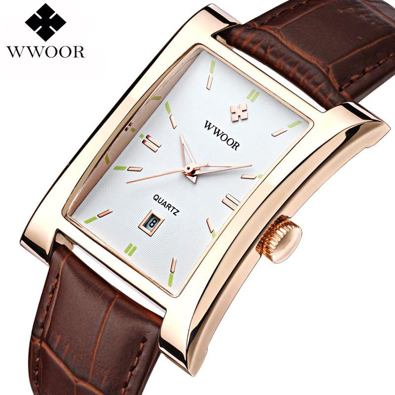 2019 nouvelle marque de luxe WWOOR montres pour hommes montre à Quartz montre-bracelet en cuir bracelet étanche horloges relogio masculino relojes