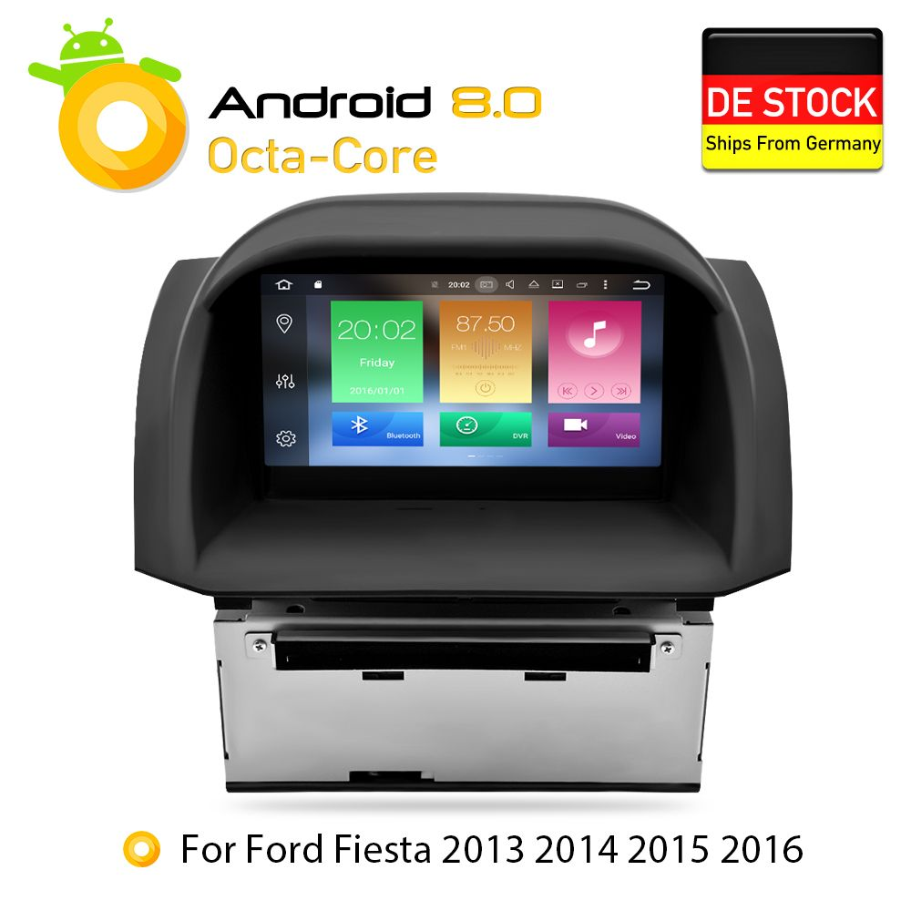 4 G Android 8.0 Car DVD Stereo For Ford Fiesta 2013 2014 2015 2016 Auto Radio GPS Navigation Audio Video Multimedia headunit